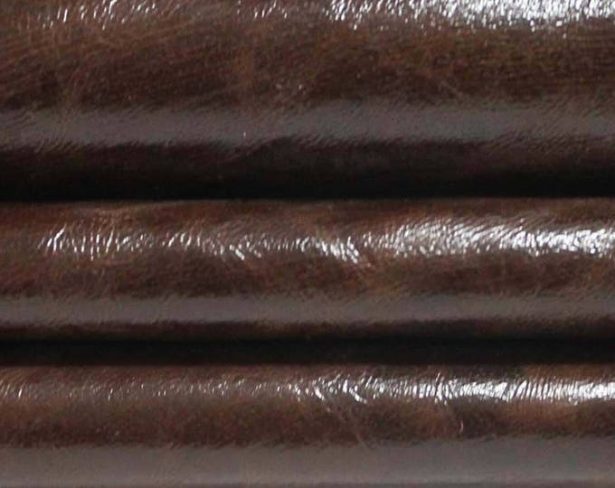 BROWN CRINKLED shiny crinkle Italian genuine Lambskin Lamb sheep leather skin hide skins hides 5sqf #A3304