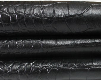 BLACK CROCODILE Embossed Italian genuine Goatskin Goat leather skins hides 0.5mm to 1.2mm