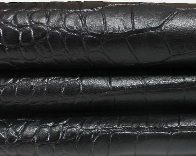 BLACK CROCODILE Embossed Italian genuine Goatskin Goat leather skins hides 0.5mm to 1.5mm