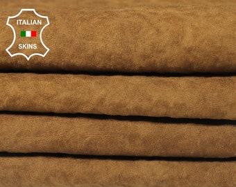 NATURAL BROWN / WOOL backside soft Italian Lambskin Lamb Sheep leather 4 hides skins total 20sqf #A5520