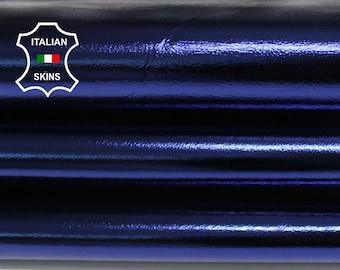 METALLIC OCEAN BLUE deep blue Italian Lambskin Lamb Sheep leather material for sewing crafts skin skins 6sqf 0.6mm #A6787