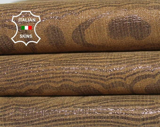 BROWN PEARLIZED TEXTURED printed shimmer Italian Lambskin Lamb Sheep leather material for sewing 3 skins total 11sqf 0.7mm #A6355