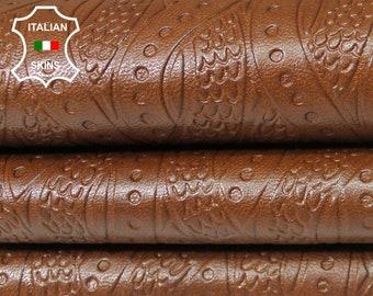 BROWN DISTRESSED TEXTURED embossed Italian genuine Lambskin Lamb Sheep leather 2 skins hides total 16sqf 0.7mm