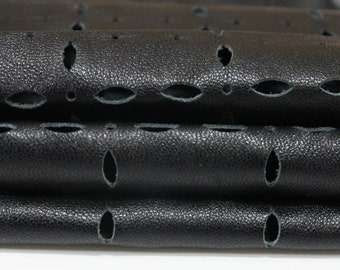 BLACK PERFORATED soft Italian genuine Lambskin Lamb Sheep leather skin hide skins hides 4sqf 0.7mm #A3649