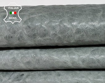 BUBBLY GRAINY GREY vintage look vegetable tan thick Italian lambskin lamb sheep leather skin skins hide hides 6sqf 1.4mm #A8307