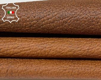 BROWN RUSTIC ANTIQUED look grainy rough vegetable tan Italian goatskin goat leather skin skins hide hides 5sqf 0.7mm #A8394