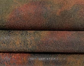 AUTUMN LEAVES distressed vintage look soft vegetable tan Italian Lambskin Lamb Sheep leather skin hide skins hides 6sqf 0.8mm #A7609