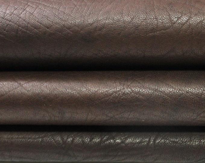 BROWN ANTIQUED RHINO Grainy Grain textured vegetable tan Italian Lambskin Lamb Sheep leather skin hide skins hides 7sqf 1.4mm #A4367