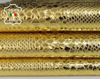 METALLIC GOLD SNAKE textured genuine Italian Goatskin Goat leather skin skins hides hide 2-6sqf 0.8mm #A6380