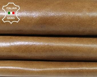 NATURAL CAMEL vintage look vegetable tan Italian Lambskin Lamb sheep leather skin hide skins hides 6sqf 0.7mm #A5581