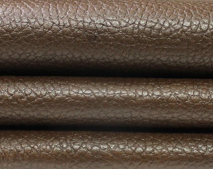 OLIVE BROWN PEBBLE Grainy Grain vegetable tan tanned Italian Lambskin Lamb Sheep leather skin hide skins hides 7sqf 0.7mm #A4364