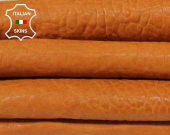 SADDLE TAN bubbly grainy textured washed thick vegetable tan Italian Lambskin Lamb Sheep Leather 3 skins total 15sqf 1.5mm #A7234
