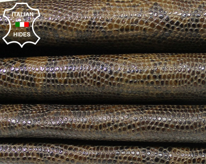 OLIVE PYTHON SNAKE reptile embossed textured print strong Italian Goatskin Goat leather 2 skins hides total 9sqf 0.9mm #A5147