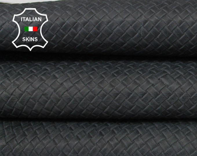 WOVEN MIDNIGHT ANTHRACITE Naked Natural textured embossed vegetable tan Italian Goatskin Goat Leather skin skins hide 6sqf 1.0mm #A6645
