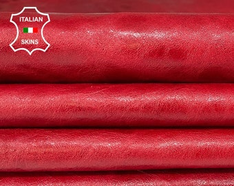 PATENT RED ANTIQUED shiny crinkle Italian lambskin lamb sheep leather pack 3 skins total 18sqf 0.8mm#A8355