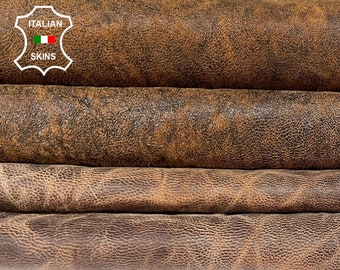 BROWN PACK 2 SHADES rustic antiqued vegetable tan Italian goatskin goat leather pack 2 skins total 8sqf 0.9mm #A8468