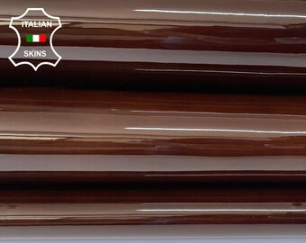 CHESTNUT BROWN CLOUDY distressed patent shiny wet look strong Italian calfskin calf cow leather hide pack 2 skins total 8sqf 1.1mm #A8262