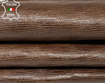 SHINY BROWN REPTILE embossed vintage look vegetable tan Italian goatskin goat leather skin skins hide hides 5sqf 0.8mm #A8368
