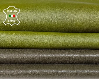 PATENT PACK 2 Shades OLIVE green shiny crinkle Italian genuine Lambskin Lamb leather 2 skins hides total 15sqf 1.1mm #A7506