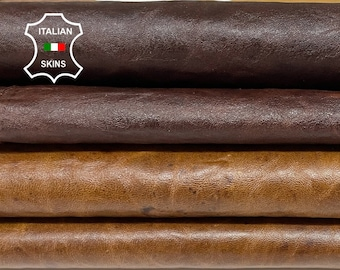 BROWN PULL UP pack 2 skins oily rustic antiqued vegetable tan Italian goatskin goat leather pack 2 skins total 13sqf 0.7mm #A8479