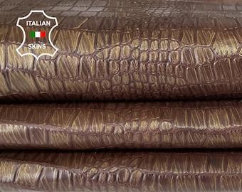 BROWN DISTRESSED BRONZE antiqued crocodile embossed vintage vegetable tan Italian goatskin leather skin hide 9sqf 0.7mm #A7971