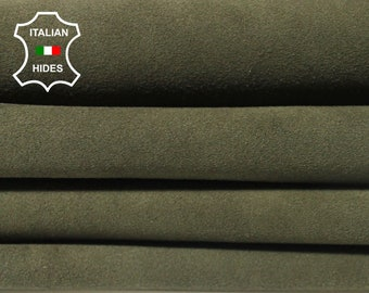 OLIVE GREEN SUEDE army Italian Lambskin Lamb sheep leather 10 skins hides total 40sqf 0.8mm #MARSUOLB2