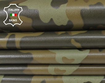 ARMY CAMO OLIVE Camouflage military Italian lambskin lamb sheep leather 12 skins hides 85-90sqf