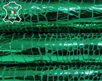METALLIC CROCODILE EMERALD Green Italian Goatskin Goat leather material for crafts skin skins hides 2sqf 0.7mm #A6333