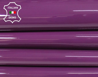 PATENT PURPLE bysantium shiny look strong Italian Calfskin Calf Cow cowhide genuine leather upholstery skin 10-14sqf 1.1mm #P13