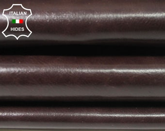 CHESTNUT BROWN SHINY antiqued Italian Calfskin Calf cow leather material for sewing hide skin hide hides skins 6-8sqf 0.8mm #A4724