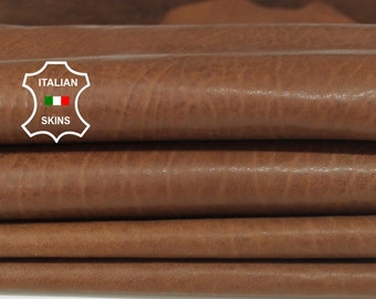 WASHED BROWN vegetable tan Italian Lambskin Lamb sheep leather 2 skins hides total 10sqf 0.9mm #A6570
