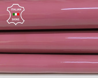 PATENT BOIS de ROSE Old Pink shiny look Italian Calfskin Calf Cow cowhide genuine leather upholstery skin 7+sqf 1.1mm #P12