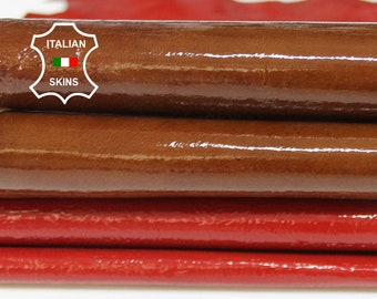 PATENT RED & BROWN Italian Goatskin Goat leather material crafts craft 2 skins hides total 10sqf 0.7mm #A6744