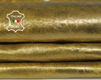 METALLIC GOLD distressed on YELLOW natural grainy textured vintage thick Italian Lambskin Lamb Sheep leather skin 6sqf 1.2mm #A6909
