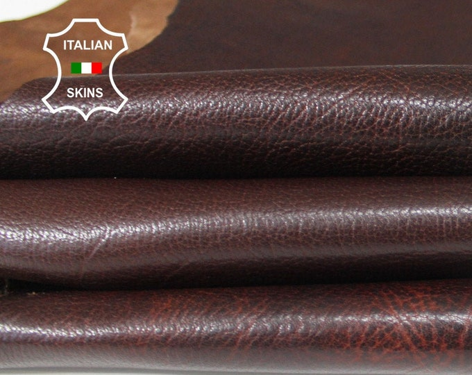 BROWN ANTIQUED grainy textured rough Italian Goatskin Goat leather material for crafts 3 skins hides total 3sqf 1.2mm #A6479