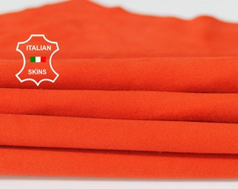 ORANGE SUEDE soft Italian Lambskin Lamb Sheep leather material for sewing crafts skin hide skins hides 4sqf 0.6mm #A6710