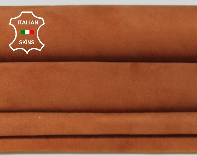 BRIC BROWN SUEDE Italian Goatskin Goat leather material for sewing crafts 2 skins hides total 6sqf 0.7mm #A6219