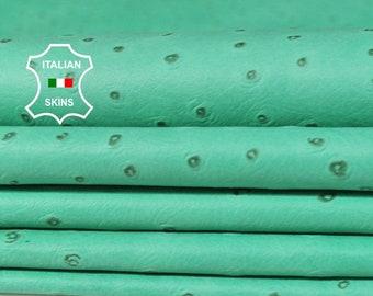 MINT GREEN OSTRICH texture natural green textured print thin soft Italian Lambskin Lamb Sheep Leather 2 skins hides total 8sqf 0.5mm #A6418