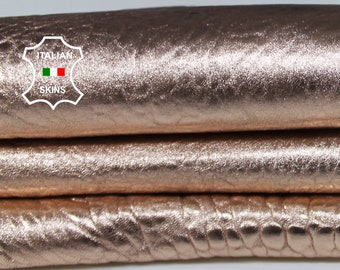 METALLIC ROSE GOLD grainy textured bubbly thick Lambskin Lamb Sheep leather skin hide skins hides 4+sqf 1.5 mm #A6896