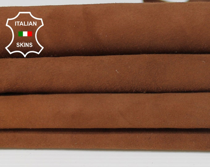 BROWN SUEDE Italian Goatskin Goat leather material for sewing crafts 5 skins hides total 15sqf 0.8mm #A6218