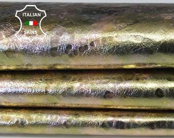 METALLIC Gold Rose gold green textrured distressed Italian Goatskin Goat leather skin hide skins hides 4-5sqf 0.6mm #A6602