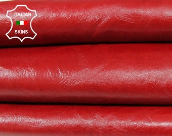 CHERRY RED shiny Italian Lambskin Lamb Sheep leather 5 skins hides total 30sqf 0.9mm #A6894