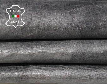 METALLIC SILVER ANTIQUED distressed natural grainy chrome Italian Lambskin Lamb Sheep leather skin hide skins hides 4sqf 1.0mm #A5988