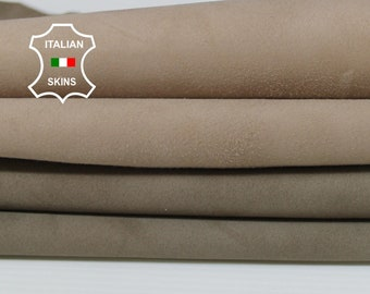 BEIGE SUEDE 2 SHADES Italian Goatskin Goat leather 2 skins hides total 6sqf 0.6mm #A6742