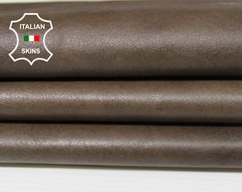 OLIVE BROWN antiqued rustic vintage vegetable tan Italian Lambskin Lamb sheep leather skin hide skins hides 5sqf 0.8mm #A5577