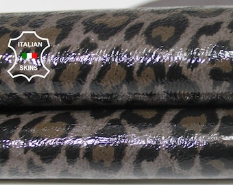 LEOPARD PATENT TAUPE print shiny Italian Lambskin Lamb Sheep leather skin hide skins hides 2+sqf 0.6mm #A5767