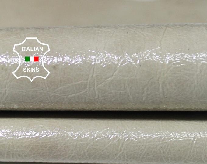 BEIGE PATENT Crinkle crinkled shiny wet look Italian Lambskin Lamb Sheep leather 2 skins hide total 7sqf 1.0mm #A5862