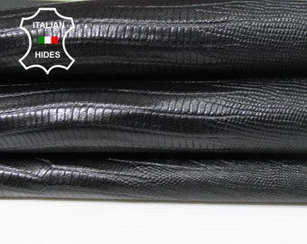 BLACK Tejus reptile embossed textured thin strong Italian Goatskin Goat leather 2 skins total 12sqf 0.5mm #A5422
