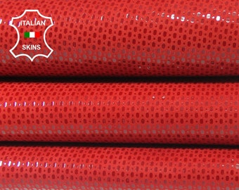 RED SHINY TEXTURED printed Italian Lambskin Lamb sheep leather 3 skins hides total 10sqf 0.8mm #A5786