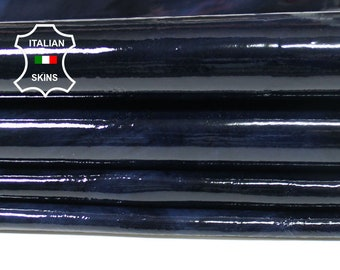 PATENT BLUE BLACK Distressed shiny Italian Lambskin Lamb sheep leather 2 skins hides total 14sqf 0.5mm #A5549